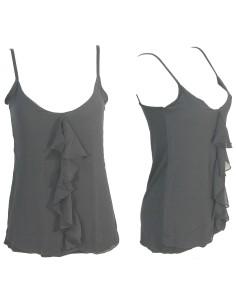 Top Canotta Donna Jadea Chic 4781 spalla stretta in viscosa e tulle colore nero