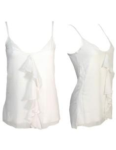 Top Canotta Donna Jadea Chic 4781 spalla stretta viscosa e tulle colore bianco
